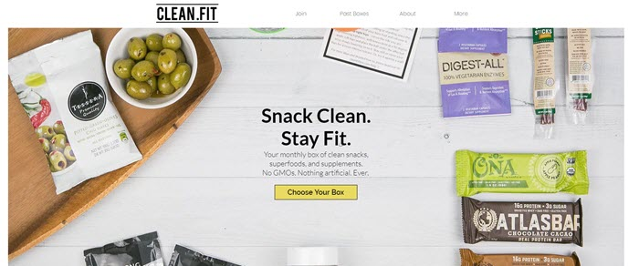 Clean.Fit website screenshot showing a background image of white boards, along with various snacks.