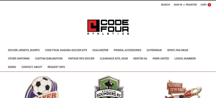screenshot of the affiliate sign up page for Code Four Athletics