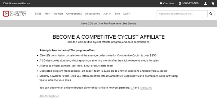 screenshot of the affiliate sign up page for Competitive Cyclist