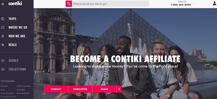screenshot of the affiliate sign up page for Contiki