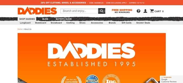 screenshot of the affiliate sign up page for Daddies Board Shop