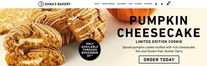 Dana's Bakery website screenshot showing their pumpkin cheesecake cookies.