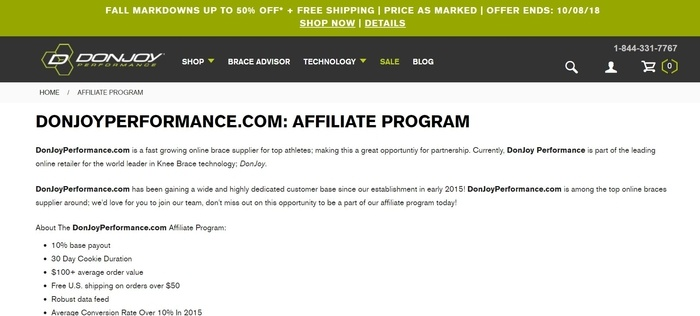 screenshot of the affiliate sign up page for DonJoy Preformance