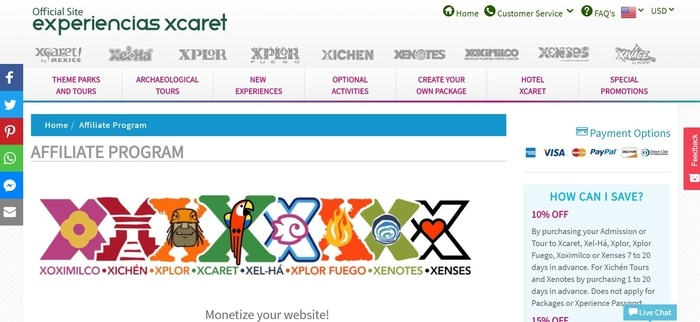 screenshot of the affiliate sign up page for Experiencias Xcaret