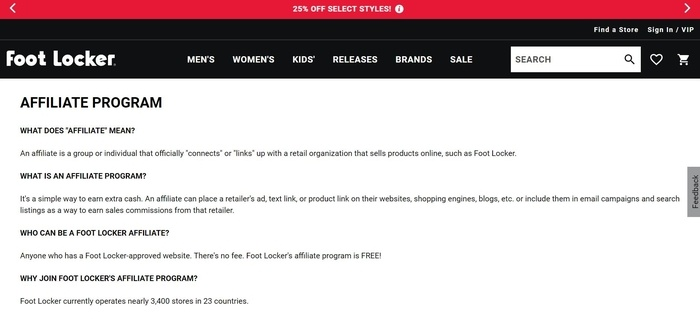 screenshot of the affiliate sign up page for Foot Locker