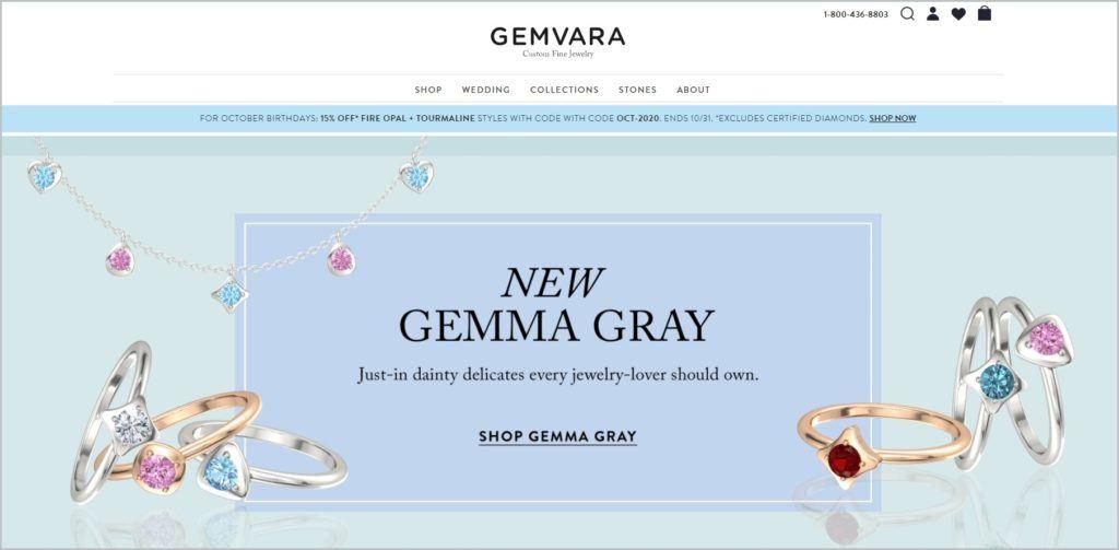 screenshot of Gemvara homepage