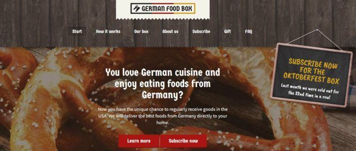 German Food Box website screenshot showing an image of a large pretzel and details about the box.