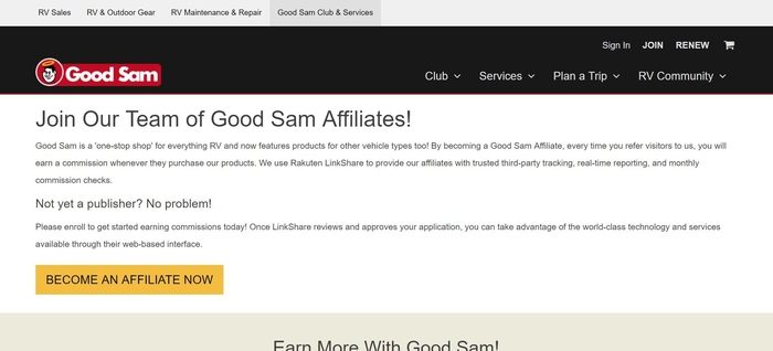 screenshot of the affiliate sign up page for Good Sam Roadside Assistance