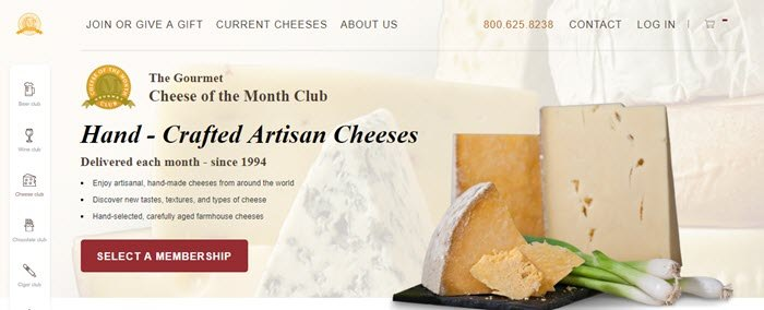 Gourmet Cheese of the Month Club website screenshot showing a small selection of cheeses.