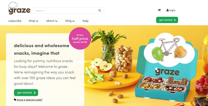 Graze website screenshot showing a box with four of the snacks.