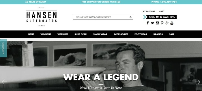screenshot of the affiliate sign up page for Hansen Surfboards