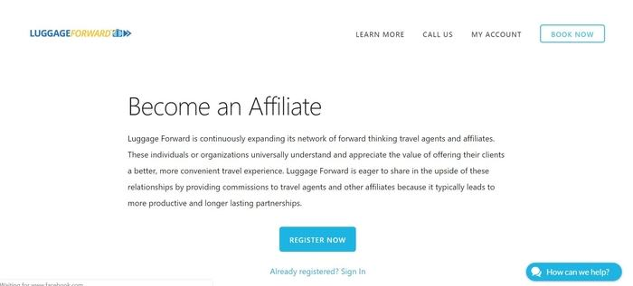 screenshot of the affiliate sign up page for Luggage Forward