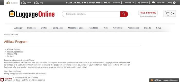 screenshot of the affiliate sign up page for Luggage Online