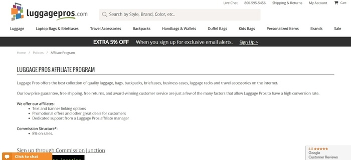 screenshot of the affiliate sign up page for Luggage Pros