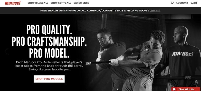 screenshot of the affiliate sign up page for Marucci Sports