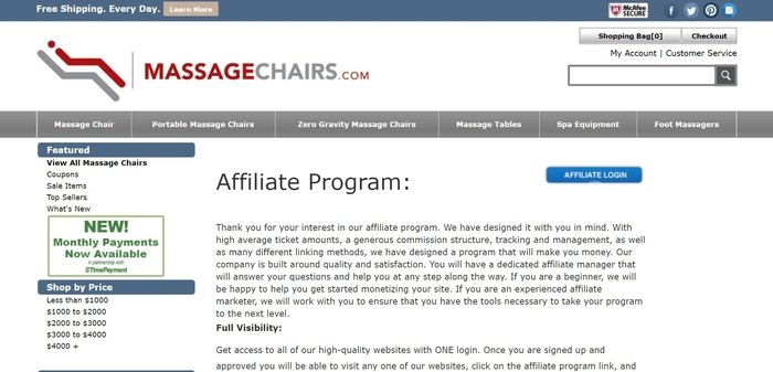 screenshot of the affiliate sign up page for MassageChairs.com