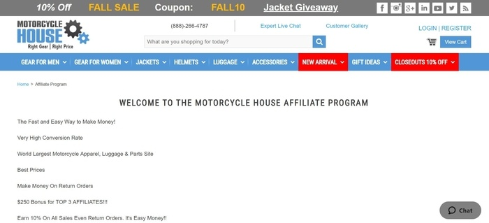 screenshot of the affiliate sign up page for Motorcycle House