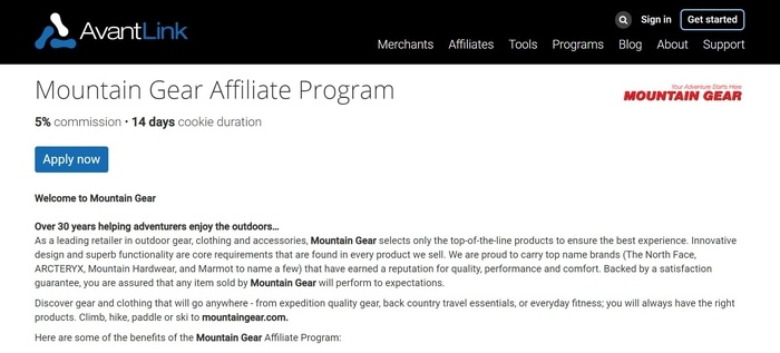 screenshot of the affiliate sign up page for Mountain Gear