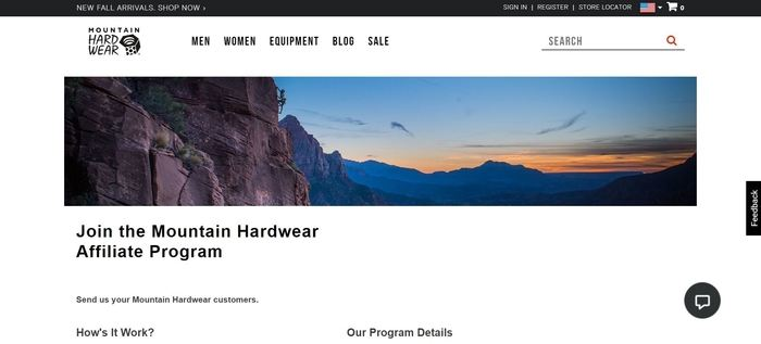 screenshot of the affiliate sign up page for Mountain Hardware