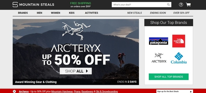 screenshot of the affiliate sign up page for Mountain Steals