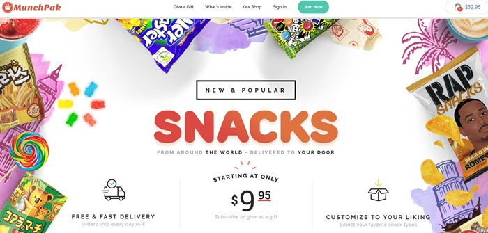 MunchPak website screenshot showing images of many different snacks, along with details about the box.