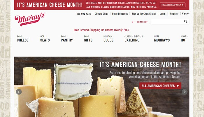 Murray's Cheese of the Month Clubs website screenshot showing a collection of various cheeses on a board.