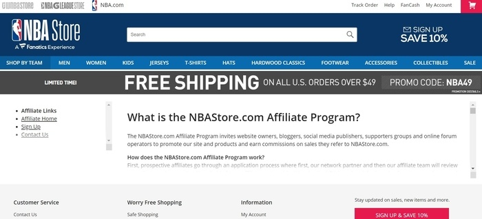 screenshot of the affiliate sign up page for NBAStore.com
