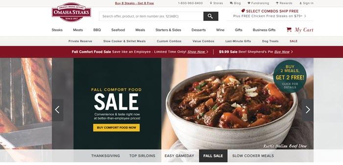 Omaha Steaks website screenshot showing an image of a bowl of stew.