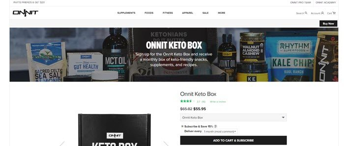 Onnit website screenshot showing the box and various components like Kale Chips and MCT Oil.