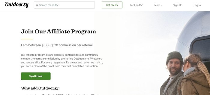 screenshot of the affiliate sign up page for Outdoorsy