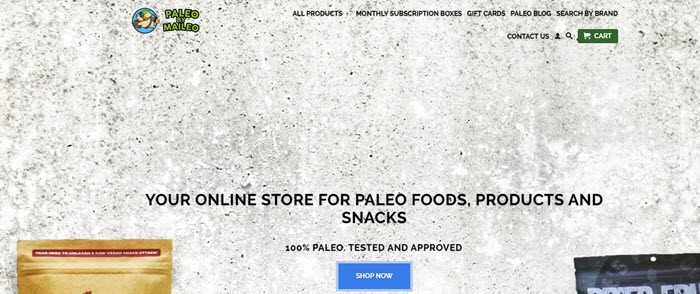 Paleo by Maileo website screenshot showing a white wall as a background with some information about the store and snacks.