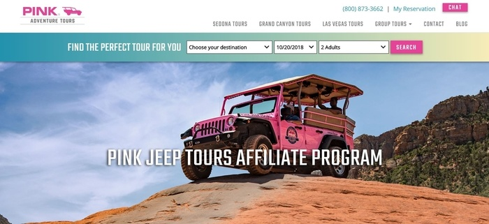screenshot of the affiliate sign up page for Pink Jeep Tours