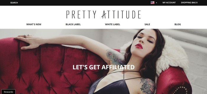 screenshot of the affiliate sign up page for Pretty Attitude