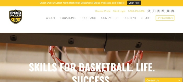 screenshot of the affiliate sign up page for Pro Skills Basketball