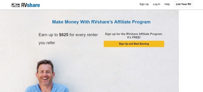 screenshot of the affiliate sign up page for RVShare