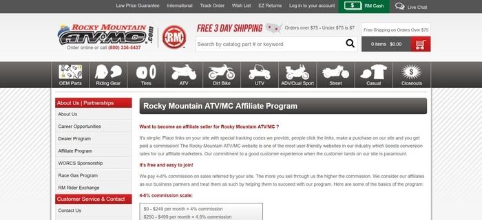 screenshot of the affiliate sign up page for Rocky Mountain ATV/MC