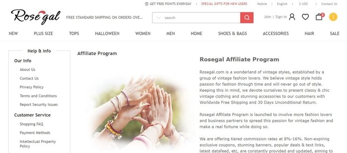 screenshot of the affiliate sign up page for Rosegal