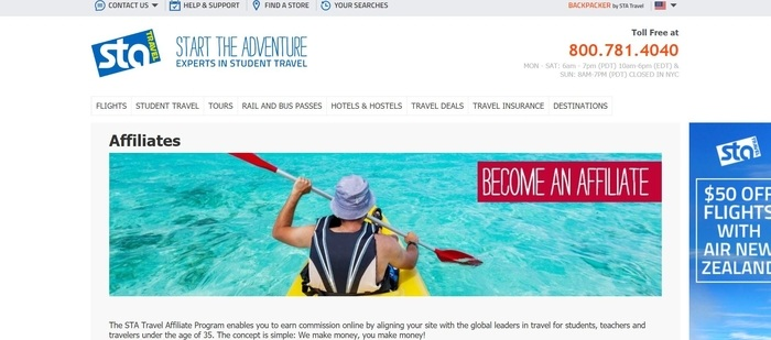 screenshot of the affiliate sign up page for STA Travel
