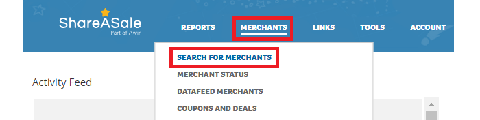 ShareASale Merchant Search