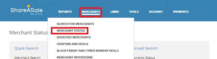 ShareASale Merchant Status