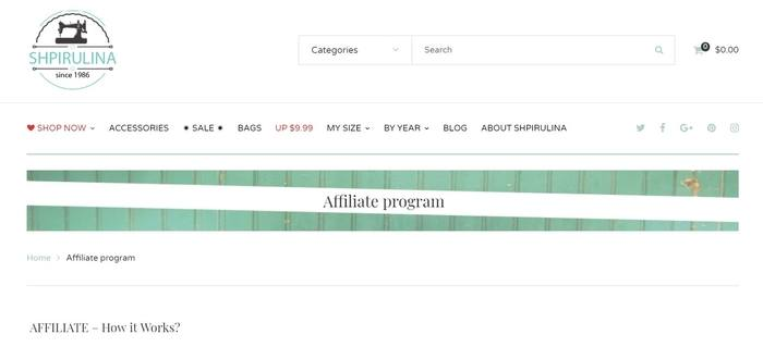 screenshot of the affiliate sign up page for Shpirulina