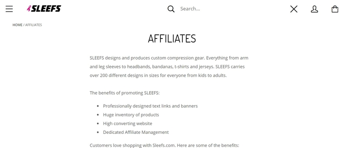 screenshot of the affiliate sign up page for Sleefs