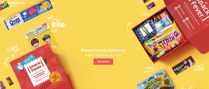 Snack Fever website screenshot showing various Korean snacks and merchandise.