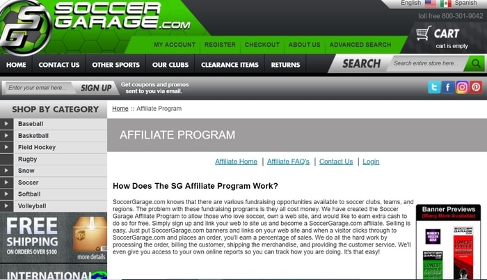 screenshot of the affiliate sign up page for SoccerGarage.com