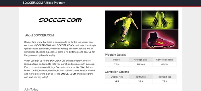 screenshot of the affiliate sign up page for Soccer.com