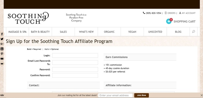screenshot of the affiliate sign up page for Soothing Touch
