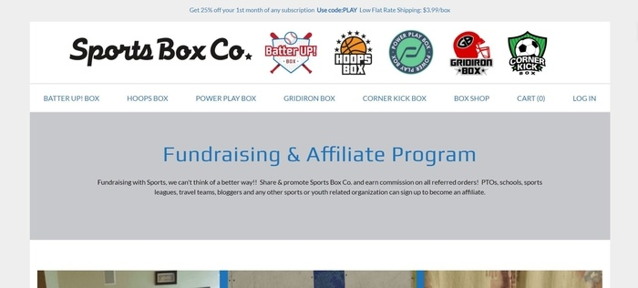 screenshot of the affiliate sign up page for Sports Box Co.
