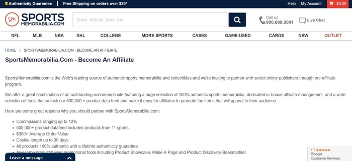 screenshot of the affiliate sign up page for SportsMemorabilia