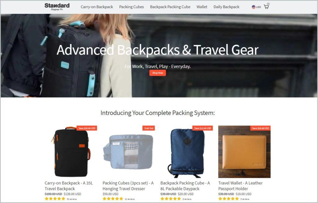 screenshot of Standard Luggage Co. home page