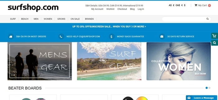 screenshot of the affiliate sign up page for SurfShop.com